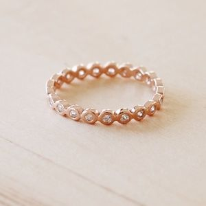 Jewelry - R1079 New Rose Gold Pave Eternity CZ Band Ring